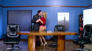 Big Tits at Work: Nude Olivia Austin cumshot in office