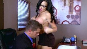 Big Tits at Work - Inked Sybil Stallone cumshot in stockings