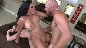 Moms In Control: Very small tits Amanda Lane FFM on the train