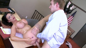 Big Tits at Work: Nikki Benz in gonzo fantasy cum on face