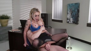 Big Tits at Work - American in panties doggy fucks in office