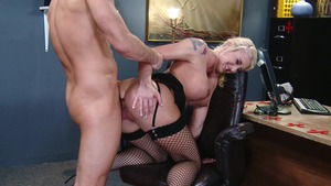 Big Tits at Work: Leya Falcon in high heels swallow in HD