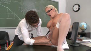 Brazzers Vault: Britney Amber in glasses next to Xander Corvus