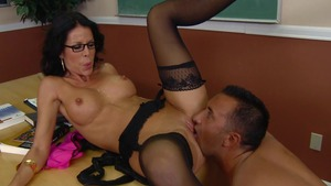 Big Tits at School: Inked Tabitha Stevens enjoys cumshot