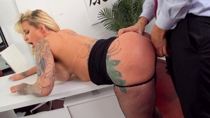 Big Tits at Work: Inked Ryan Conner cheating ass to mouth